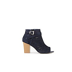 Wallis - Navy laser cut buckle detail ankle boots