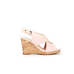 Wallis - Pink cross strap cork cover wedge