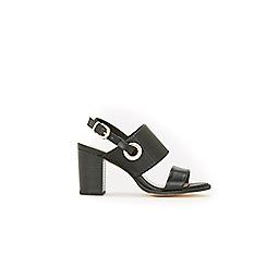 Wallis - Black eyelet detail buckle sandals