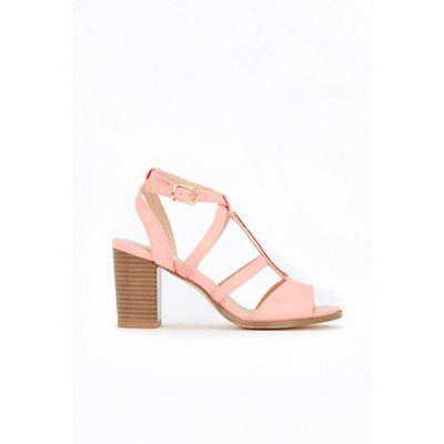 Wallis - Peach t-bar multi strap sandals