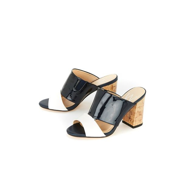 Wallis Navy mules part two heel cork 11vwrP