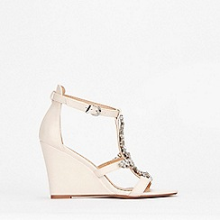 Wallis - Pale Pink Jewelled Wedge Sandals