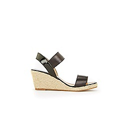 Wallis - Black elastic strap raffia wedge sandals