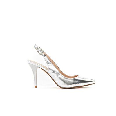 Wallis - Silver slingback sprayed heel court shoes