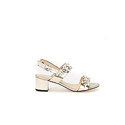Wallis - Pewter two band embellished block heel sandals