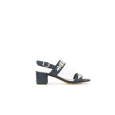 wallis---navy-two-band-embellished-block-heel-sandals by wallis