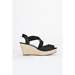 Wallis - Black glitter espadrille wedge sandals