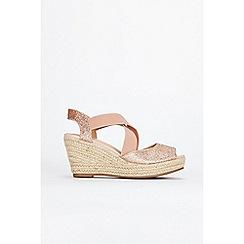 Wallis - Pink glitter espadrille wedge sandals