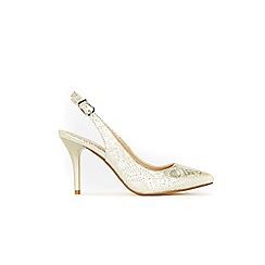 Wallis - Gold slingback heel court shoes