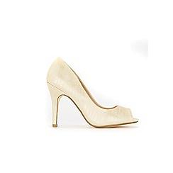 Wallis - Gold peep toe court shoes
