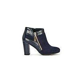 Wallis - Navy asymetric side zip boot
