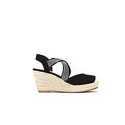Wallis - Black elastic hot fix strap closed toe wedges