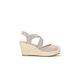 Wallis - Grey elastic hot fix strap closed toe wedges