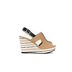 Wallis - Camel stripe wedge sandal