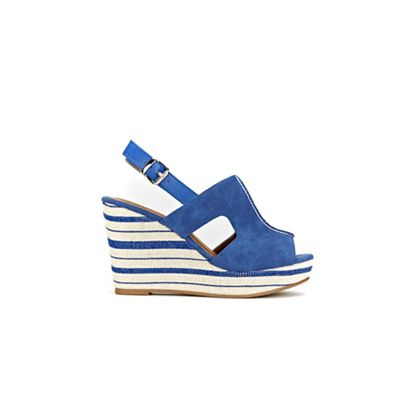 Wallis - Blue stripe wedge sandal
