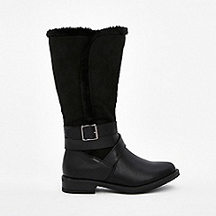 Wallis - Black double buckle high leg boots