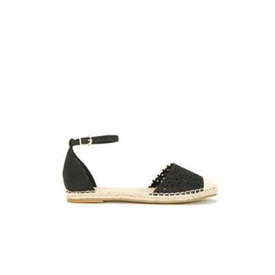 Wallis - Black laser cut detail cross flat sandals