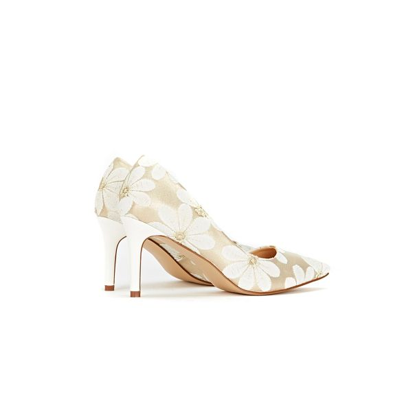 pointed court shoes mesh floral White Wallis Awq1YHSx