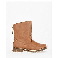 Wallis - Tan back zip ankle boots