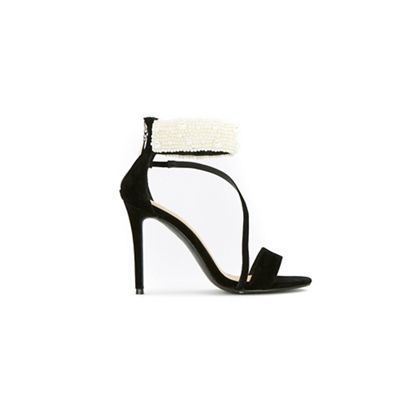 Wallis - Black pearl trim asymetric sandals