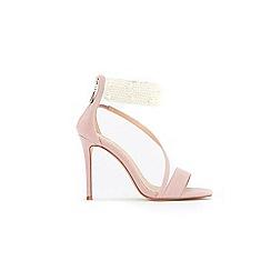 Wallis - Pale pink pearl trim asymetric sandals