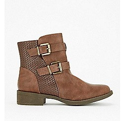 Wallis - Tan double buckle ankle boots