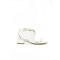 Wallis - White cross strap flat sandals