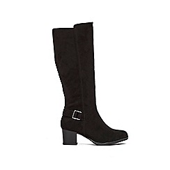 Wallis - Black buckle high leg boot