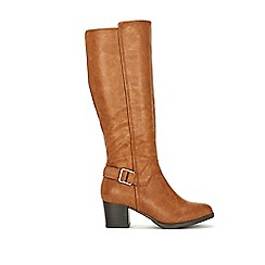 Wallis - Tan buckle high leg boot