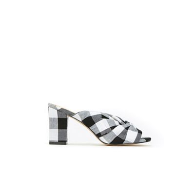 Wallis - Black and white gingham heeled mule sandals
