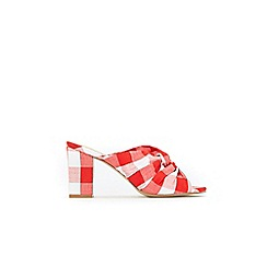 Wallis - Red and white gingham heeled mule sandals