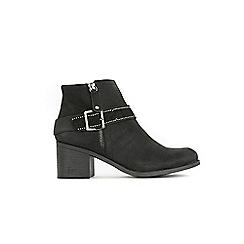 Wallis - Black side zip buckle ankle boots