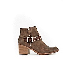 Wallis - Brown side zip buckle ankle boots