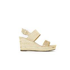 Wallis - Gold rope trim embellished wedge sandals