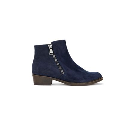 wallis---navy-mix-material-side-zip-boots by wallis