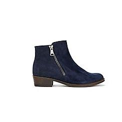 Wallis - Navy mix material side zip boots