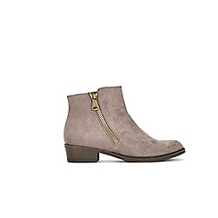 Wallis - Taupe mix material side zip boots
