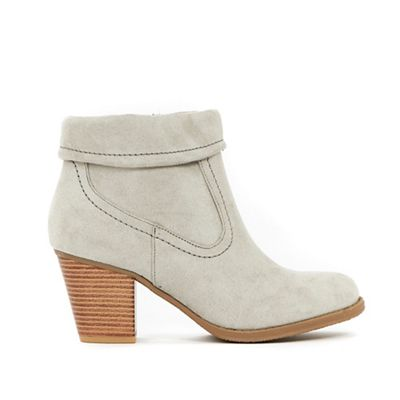 Wallis - Grey fold cuff detail ankle boots