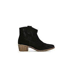 Wallis - Black laser cut western ankle boots