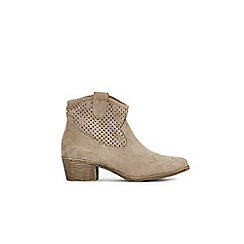 Wallis - Brown laser cut western ankle boots
