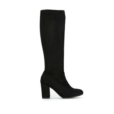 Wallis - Black sock fit high leg boots