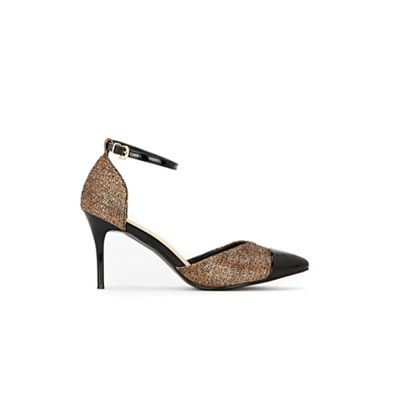 Wallis - Bronze two part pointed shiny heel court shoes