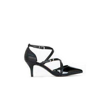 Wallis - Black multi strap kitten heel court shoes