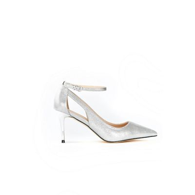Wallis out - Silver cut out Wallis ankle strap court shoes 199f6f
