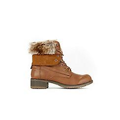 Wallis - Tan faux fur lace ankle boots