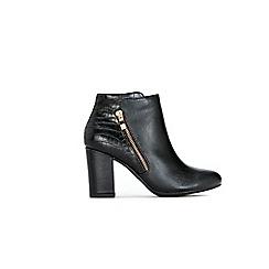 Wallis - Black croc zip ankle boots