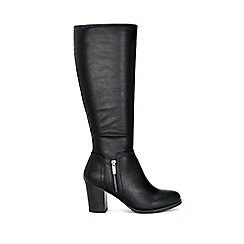 Wallis - Black side zip high leg boots