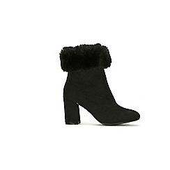 Wallis - Black faux fur trim ankle boot