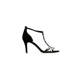 Wallis - Black pearl t-bar heeled sandals
