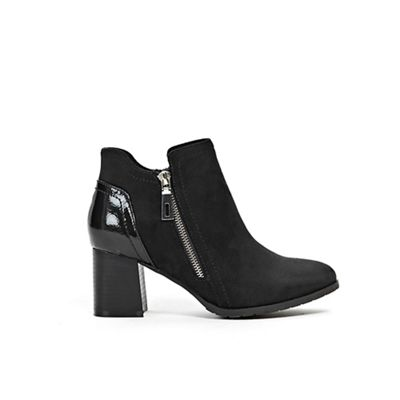 Wallis Wallis Wallis - Black side zip flared heel boots de8655